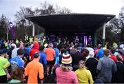 13 January 2018; Vhi Ambassador David Gillick alongside Dublin Ladies footballer Sarah McCaffrey leading the warm up ahead of the Bushy Park, Terenure, Co. Dublin parkrun where Vhi hosted a special event to celebrate their partnership with parkrun Ireland. Parkrunners enjoyed refreshments post event at the Vhi Relaxation Area where a physiotherapist took participants through a post event stretching routine.   parkrun in partnership with Vhi support local communities in organising free, weekly, timed 5k runs every Saturday at 9.30am. To register for a parkrun near you visit www.parkrun.ie. Photo by David Fitzgerald/Sportsfile