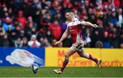 13 January 2018; John Cooney of Ulster kicks a conversion during the European Rugby Champions Cup Pool 1 Round 5 match between Ulster and La Rochelle at the Kingspan Stadium in Belfast. Photo by Ramsey Cardy/Sportsfile