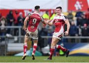 13 January 2018; Jacob Stockdale, right, and John Cooney of Ulster celebrate at the final whistle of the European Rugby Champions Cup Pool 1 Round 5 match between Ulster and La Rochelle at the Kingspan Stadium in Belfast. Photo by Ramsey Cardy/Sportsfile