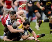 13 January 2018; Alexis Balès of La Rochelle goes over to score his side's first try despite the tackle of John Cooney of Ulster during the European Rugby Champions Cup Pool 1 Round 5 match between Ulster and La Rochelle at the Kingspan Stadium in Belfast. Photo by Oliver McVeigh/Sportsfile