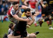13 January 2018; Alexis Balès of La Rochelle goes over to score his side's first try despite the tackle of Jacob Stockdale and John Cooney of Ulster  during the European Rugby Champions Cup Pool 1 Round 5 match between Ulster and La Rochelle at the Kingspan Stadium in Belfast. Photo by Oliver McVeigh/Sportsfile