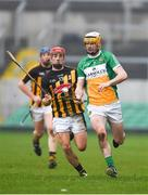 13 January 2018; Jordan Quinn of Offaly in action against Bill Sheehan of Kilkenny during the Bord na Mona Walsh Cup semi-final match between Offaly and Kilkenny at Bord na Mona O'Connor Park in Offaly. Photo by Sam Barnes/Sportsfile