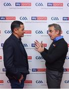 14 January 2018; Irish golfer and former Ryder Cup captain, Paul McGinley was at Croke Park at the weekend to discuss the importance of teamwork at the GAA Games Development Conference in partnership with Sky Sports. Paul's attendance at the event is part of Sky Sports' commitment in supporting the GAA at grassroots level. Throughout 2017 to 2021, Sky Sports will invest €3million over a five-year period into grassroots which will include leveraging its links to world-class elite sportspeople across three initiatives; the GAA Games Development Conference; the GAA Youth Forum and the GAA Super Games Centres. Paul McGinley pictured with Jason Sherlock Photo by David Fitzgerald/Sportsfile