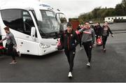 14 January 2018; Ronan O'Neill, Aidan McCrory and Niall Morgan of Tyrone arrive prior to the Bank of Ireland Dr. McKenna Cup semi-final match between Fermanagh and Tyrone at Brewster Park in Enniskillen, Fermanagh. Photo by Oliver McVeigh/Sportsfile