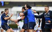 14 January 2018; Isa Nacewa of Leinster celebrates with team-mates, from left, Jordan Larmour, Robbie Henshaw, James Lowe and Andrew Porter after scoring his side's second try during the European Rugby Champions Cup Pool 3 Round 5 match between Leinster and Glasgow Warriors at the RDS Arena in Dublin. Photo by Ramsey Cardy/Sportsfile