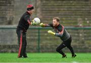 14 January 2018; Mayo goalkeeper Rob Hennelly warms-up with goalkeeping coach Peter Burke before the Connacht FBD League Round 4 match between Roscommon and Mayo at Dr Hyde Park in Roscommon. Photo by Piaras Ó Mídheach/Sportsfile