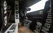 14 January 2018; Michael Flahive organises the signs for the scoreboard before the Connacht FBD League Round 4 match between Roscommon and Mayo at Dr Hyde Park in Roscommon. Photo by Piaras Ó Mídheach/Sportsfile