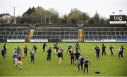 14 January 2018; The Westmeath team warm up ahead of the Bord na Mona O'Byrne Cup semi-final match between Westmeath and Offaly at Cusack Park, in Mullingar, Westmeath. Photo by Sam Barnes/Sportsfile