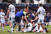 14 January 2018; Leinster players Luke McGrath, Josh van der Flier and Scott Fardy congratulate Sean Cronin after he scored their side's third try during the European Rugby Champions Cup Pool 3 Round 5 match between Leinster and Glasgow Warriors at the RDS Arena in Dublin. Photo by David Fitzgerald/Sportsfile