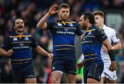 14 January 2018; Isa Nacewa is congratulated by his Leinster team-mates Ross Byrne and James Lowe, left, after scoring their sixth try during the European Rugby Champions Cup Pool 3 Round 5 match between Leinster and Glasgow Warriors at the RDS Arena in Dublin. Photo by Stephen McCarthy/Sportsfile