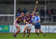 14 January 2018; Paudie Foley, left, and Jack O'Connor of Wexford in action against Danny Sutcliffe of Dublin during the Bord na Mona Walsh Cup semi-final match between Dublin and Wexford at Parnell Park in Dublin. Photo by Daire Brennan/Sportsfile
