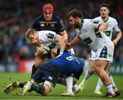 14 January 2018; Brandon Thomson of Glasgow Warriors is tackled by Josh van der Flier and Scott Fardy, 5, of Leinster during the European Rugby Champions Cup Pool 3 Round 5 match between Leinster and Glasgow Warriors at the RDS Arena in Dublin. Photo by Stephen McCarthy/Sportsfile