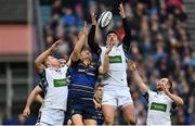 14 January 2018; Jordan Larmour of Leinster in action against Huw Jones, left, and Lee Jones of Glasgow Warriors during the European Rugby Champions Cup Pool 3 Round 5 match between Leinster and Glasgow Warriors at the RDS Arena in Dublin. Photo by Ramsey Cardy/Sportsfile