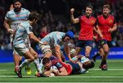14 January 2018; Jean Kleyn of Munster scores his side's first try during the European Rugby Champions Cup Pool 4 Round 5 match between Racing 92 and Munster at the U Arena in Paris, France. Photo by Brendan Moran/Sportsfile