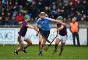 14 January 2018; Paul Winters of Dublin in action against Aidan Nolan, left, and Shaun Murphy of Wexford during the Bord na Mona Walsh Cup semi-final match between Dublin and Wexford at Parnell Park in Dublin. Photo by Daire Brennan/Sportsfile