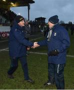 14 January 2018; Managers Andy McEntee of Meath, left, and Denis Connerton of Longford shake hands following the Bord na Mona O'Byrne Cup semi-final match between Meath and Longford at Páirc Táilteann in Navan, Meath. Photo by Seb Daly/Sportsfile