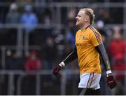 14 January 2018; Paddy Collum of Longford reacts after missing his freekick in the shootout during the Bord na Mona O'Byrne Cup semi-final match between Meath and Longford at Páirc Táilteann in Navan, Meath. Photo by Seb Daly/Sportsfile