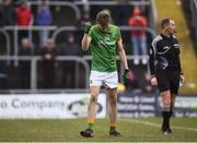 14 January 2018; Mark McCabe of Meath reacts after converting his freekick in the shootout during the Bord na Mona O'Byrne Cup semi-final match between Meath and Longford at Páirc Táilteann in Navan, Meath. Photo by Seb Daly/Sportsfile