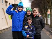 14 January 2018; Leinster supporters Ethan Black, age 11, Marcus Cullen, age 11, Jamie Bradley, age 10, and Hugo Cullen, age 9, front, all from Sandyford, Dublin, ahead of the European Rugby Champions Cup Pool 3 Round 5 match between Leinster and Glasgow Warriors at the RDS Arena in Dublin. Photo by Stephen McCarthy/Sportsfile