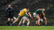 14 January 2018; Seán Mullooly of Roscommon, supported by team-mate Conor Devaney, in action against Mayo's Diarmuid O'Connor and Colm Boyle, left, during the Connacht FBD League Round 4 match between Roscommon and Mayo at Dr Hyde Park in Roscommon. Photo by Piaras Ó Mídheach/Sportsfile