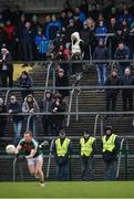 14 January 2018; Stewards, from left, Martin Kane, Patrick Maguire and Matt Connell look as on Colm Boyle of Mayo goes on the attack during the Connacht FBD League Round 4 match between Roscommon and Mayo at Dr Hyde Park in Roscommon. Photo by Piaras Ó Mídheach/Sportsfile