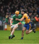 14 January 2018; Seamus Flanagan of Limerick in action against Jack Browne of Clare during Co-Op Superstores Munster Senior Hurling League Final between Limerick and Clare at Gaelic Grounds in Limerick. Photo by Diarmuid Greene/Sportsfile