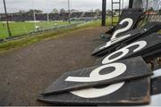 14 January 2018; A general view of discarded scoreboard numbers during the Bord na Mona O'Byrne Cup semi-final match between Meath and Longford at Páirc Táilteann in Navan, Meath. Photo by Seb Daly/Sportsfile