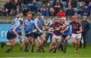 14 January 2018; Aidan Nolan of Wexford breaks away from Chris Crummey, left, and Paddy Smyth of Dublin during the Bord na Mona Walsh Cup semi-final match between Dublin and Wexford at Parnell Park in Dublin. Photo by Daire Brennan/Sportsfile