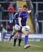 14 January 2018; Sean McCormack of Longford converts his freekick in the shootout during the Bord na Mona O'Byrne Cup semi-final match between Meath and Longford at Páirc Táilteann in Navan, Meath. Photo by Seb Daly/Sportsfile