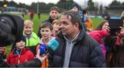 14 January 2018; Wexford manager Davy Fitzgerald does an interview after the Bord na Mona Walsh Cup semi-final match between Dublin and Wexford at Parnell Park in Dublin. Photo by Daire Brennan/Sportsfile