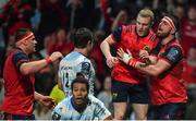 14 January 2018; Keith Earls of Munster celebrates with team-mate Jean Kleyn, right, after scoring their side's second try during the European Rugby Champions Cup Pool 4 Round 5 match between Racing 92 and Munster at the U Arena in Paris, France. Photo by Brendan Moran/Sportsfile