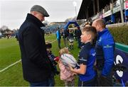 14 January 2018; Matchday mascot 11 year old Henry Ferguson, from Glasthule, Dublin, with Jamie Heaslip of Leinster ahead of the European Rugby Champions Cup Pool 3 Round 5 match between Leinster and Glasgow Warriors at the RDS Arena in Dublin. Photo by Ramsey Cardy/Sportsfile