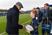 14 January 2018; Matchday mascot 12 year old Oliver O'Callaghan, from Blackrock, Dublin, with Jamie Heaslip of Leinster ahead of the European Rugby Champions Cup Pool 3 Round 5 match between Leinster and Glasgow Warriors at the RDS Arena in Dublin. Photo by Ramsey Cardy/Sportsfile