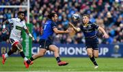 14 January 2018; James Lowe, left, and Jordan Larmour of Leinster during the European Rugby Champions Cup Pool 3 Round 5 match between Leinster and Glasgow Warriors at the RDS Arena in Dublin. Photo by Ramsey Cardy/Sportsfile