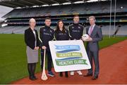 15 January 2018; An independent evaluation by Waterford IT has revealed that the GAA Healthy Club Project (HCP) is already showing significant and lasting improvements to the health of communities across Ireland. Stemming from this, the Healthy Club Project is calling on further clubs to make the GAA a healthier place for everyone to enjoy, by signing up to this transformative initiative. Clubs can apply to participate in the Healthy Club Project by completing the online form on www.gaa.ie/community The closing date is Monday, January 29th. Pictured at the launch are, from left, Liz Redmond, Population Health Director, Dept of Health, NI, Waterford hurler Jamie Barron, Dublin ladies footballer Lyndsey Davey, Mayo footballer Diarmuid O'Connor, and Tony Murphy, Dept. for Communities, NI, at Croke Park in Dublin. Photo by Piaras Ó Mídheach/Sportsfile