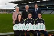 15 January 2018; An independent evaluation by Waterford IT has revealed that the GAA Healthy Club Project (HCP) is already showing significant and lasting improvements to the health of communities across Ireland. Stemming from this, the Healthy Club Project is calling on further clubs to make the GAA a healthier place for everyone to enjoy, by signing up to this transformative initiative. Clubs can apply to participate in the Healthy Club Project by completing the online form on www.gaa.ie/community The closing date is Monday, January 29th. Pictured at the launch are, back row, from left, Catherine Byrne TD, Minister of State at the Department of Health with responsibility for Health Promotion and the National Drugs Strategy, Uachtarán Chumann Lúthchleas Gael Aogán Ó Fearghail, Simon Harris TD, Minister for Health. Front row, from left, Dublin ladies footballer Lyndsey Davey, Mayo footballer Diarmuid O'Connor and Waterford hurler Jamie Barron at Croke Park in Dublin.   Photo by Piaras Ó Mídheach/Sportsfile