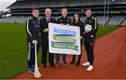 15 January 2018; An independent evaluation by Waterford IT has revealed that the GAA Healthy Club Project (HCP) is already showing significant and lasting improvements to the health of communities across Ireland. Stemming from this, the Healthy Club Project is calling on further clubs to make the GAA a healthier place for everyone to enjoy, by signing up to this transformative initiative. Clubs can apply to participate in the Healthy Club Project by completing the online form on www.gaa.ie/community The closing date is Monday, January 29th. Pictured at the launch are, from left, Waterford hurler Jamie Barron, Uachtarán Chumann Lúthchleas Gael Aogán Ó Fearghail, James Carthy, Healthy Club Officer Aghamore GAA, Mayo, Dublin ladies footballer Lyndsey Davey and Mayo footballer Diarmuid O'Connor at Croke Park in Dublin. Photo by Piaras Ó Mídheach/Sportsfile