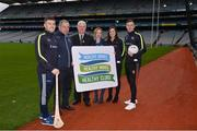 15 January 2018; An independent evaluation by Waterford IT has revealed that the GAA Healthy Club Project (HCP) is already showing significant and lasting improvements to the health of communities across Ireland. Stemming from this, the Healthy Club Project is calling on further clubs to make the GAA a healthier place for everyone to enjoy, by signing up to this transformative initiative. Clubs can apply to participate in the Healthy Club Project by completing the online form on www.gaa.ie/community The closing date is Monday, January 29th. Pictured at the launch are, from left, Waterford hurler Jamie Barron, Pat Kelly, St. Colmcilles GAA, Meath, Uachtarán Chumann Lúthchleas Gael Aogán Ó Fearghail, Gwen Lanigan, Healthy Club Officer St. Colmcilles GAA, Meath, Dublin ladies footballer Lyndsey Davey and Mayo footballer Diarmuid O'Connor at Croke Park in Dublin. Photo by Piaras Ó Mídheach/Sportsfile