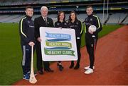 15 January 2018; An independent evaluation by Waterford IT has revealed that the GAA Healthy Club Project (HCP) is already showing significant and lasting improvements to the health of communities across Ireland. Stemming from this, the Healthy Club Project is calling on further clubs to make the GAA a healthier place for everyone to enjoy, by signing up to this transformative initiative. Clubs can apply to participate in the Healthy Club Project by completing the online form on www.gaa.ie/community The closing date is Monday, January 29th. Pictured at the launch are, from left, Waterford hurler Jamie Barron, Uachtarán Chumann Lúthchleas Gael Aogán Ó Fearghail, Janas Harrington, Healthy Club Officer, St. Finbarr's National Hurling and Football Club, Cork, Dublin ladies footballer Lyndsey Davey and Mayo footballer Diarmuid O'Connor at Croke Park in Dublin. Photo by Piaras Ó Mídheach/Sportsfile