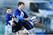 15 January 2018; Woodley Nicholson of Dundalk Grammar School is tackled by Dominic Damianov of Mount Temple during the Community School Bank of Ireland Leinster Schools Fr. Godfrey Cup Round 1 match between Dundalk Grammar School and Mount Temple at Donnybrook Stadium in Dublin. Photo by Matt Browne/Sportsfile