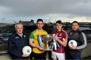 16 January 2018; In attendance at the 2018 Allianz Football League Launch at Dublin Port Authority in Dublin, from left, Kerry selector Mikey Sheehy, Patrick McBrearty of Donegal, Damien Comer of Galway and Kildare manager Cian O'Neill. Dublin face Kildare under lights in Croke Park in the opening round on January 27th at 7pm, while Allianz Football League Division 1 holders Kerry host Donegal at Fitzgerald Stadium, Killarney on Sunday January 28th and Galway take on Tyrone at Pearse Stadium in Galway. For more, see: www.gaa.ie    Photo by Brendan Moran/Sportsfile
