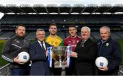 16 January 2018; In attendance at the 2018 Allianz Football League Launch at Dublin Port Authority in Dublin, from left, Kildare manager Cian O'Neill, Sean McGrath, CEO, Allianz Ireland, Patrick McBrearty of Donegal, Damien Comer of Galway, Uachtarán Chumann Lúthchleas Gael Aogán Ó Fearghail and Kerry selector Mikey Sheehy. Dublin face Kildare under lights in Croke Park in the opening round on January 27th at 7pm, while Allianz Football League Division 1 holders Kerry host Donegal at Fitzgerald Stadium, Killarney on Sunday January 28th and Galway take on Tyrone at Pearse Stadium in Galway. For more, see: www.gaa.ie  Photo by Brendan Moran/Sportsfile