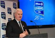 16 January 2018; Speaking at the 2018 Allianz Football League Launch at Croke Park is Uachtarán Chumann Lúthchleas Gael Aogán Ó Fearghail. Dublin face Kildare under lights in Croke Park in the opening round on January 27th at 7pm, while Allianz Football League Division 1 holders Kerry host Donegal at Fitzgerald Stadium, Killarney on Sunday January 28th and Galway take on Tyrone at Pearse Stadium in Galway. For more, see: www.gaa.ie  Photo by Brendan Moran/Sportsfile