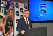 16 January 2018; Speaking at the 2018 Allianz Football League Launch at Croke Park is Sean McGrath, CEO, Allianz Ireland. Dublin face Kildare under lights in Croke Park in the opening round on January 27th at 7pm, while Allianz Football League Division 1 holders Kerry host Donegal at Fitzgerald Stadium, Killarney on Sunday January 28th and Galway take on Tyrone at Pearse Stadium in Galway. For more, see: www.gaa.ie  Photo by Brendan Moran/Sportsfile