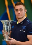 16 January 2018; Jordan Larmour of Leinster with the Bank of Ireland Leinster Rugby Player of the Month for December at Leinster Rugby Headquarters in Dublin. Photo by Ramsey Cardy/Sportsfile