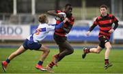 16 January 2018; Jackson Oyo of Kilkenny College is tackled by Sam Hamilton of St Andrew's College during the Bank of Ireland Leinster Schools Fr. Godfrey Cup Round 1 match between St Andrew's College and Kilkenny College at Donnybrook Stadium in Dublin.  Photo by Eóin Noonan/Sportsfile