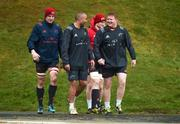 16 January 2018; Robin Copeland, Simon Zebo, Jack O'Donoghue, and Stephen Archer make their way out for Munster Rugby squad training at the University of Limerick in Limerick. Photo by Diarmuid Greene/Sportsfile
