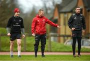 16 January 2018; Rory Scannell, Keith Earls, and JJ Hanrahan during Munster Rugby squad training at the University of Limerick in Limerick. Photo by Diarmuid Greene/Sportsfile