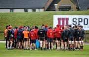 16 January 2018; Players gather together in a huddle during Munster Rugby squad training at the University of Limerick in Limerick. Photo by Aaron Greene/Sportsfile