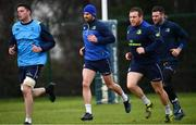 16 January 2018; Leinster players, from left, James Ryan, Rob Kearney, Sean Cronin and Fergus McFadden during squad training at UCD in Dublin. Photo by Ramsey Cardy/Sportsfile
